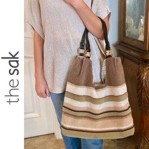 The Sak Stripe Hand Crochet Hobo FREE Cosmetic Bag
